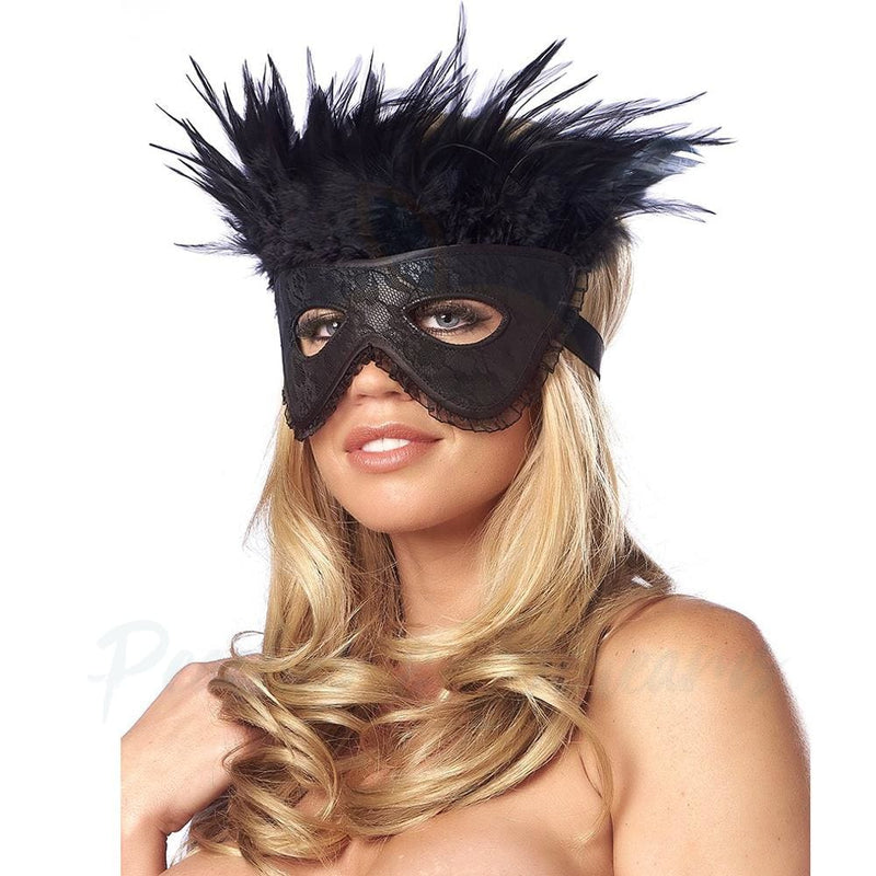 Black Satin-Look Feather Face Mask for Roleplay - Necronomicox