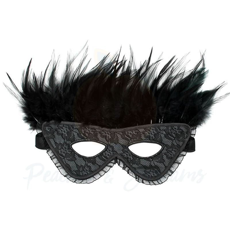 Black Satin-Look Feather Face Mask for Roleplay - 🍑 Necronomicox