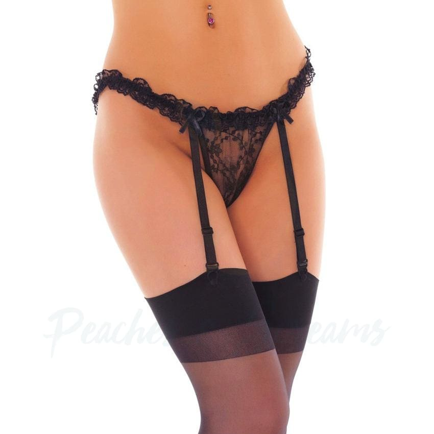 Black Suspender Belt with Frills and Hold-Up Stockings UK 8-14 - Peaches & Screams