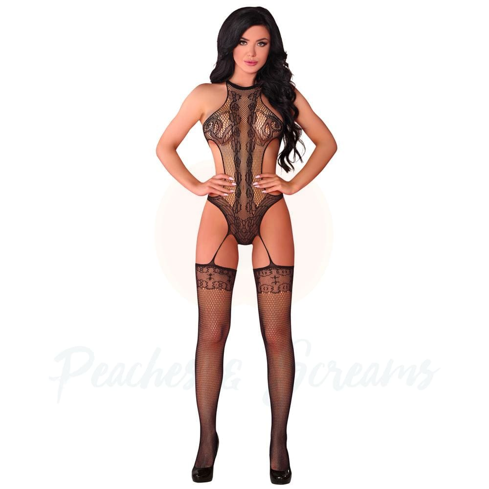 Black Suspender Bodystocking with Delicate Patterns UK 8-12 - 🍑 Necronomicox