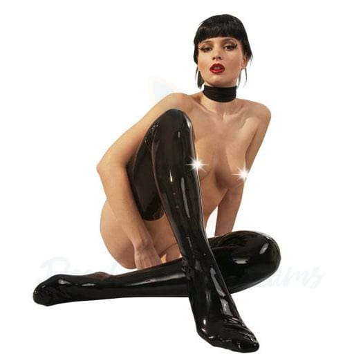 Black Thigh-High Fetish Latex Stockings for Women - Peaches and Screams