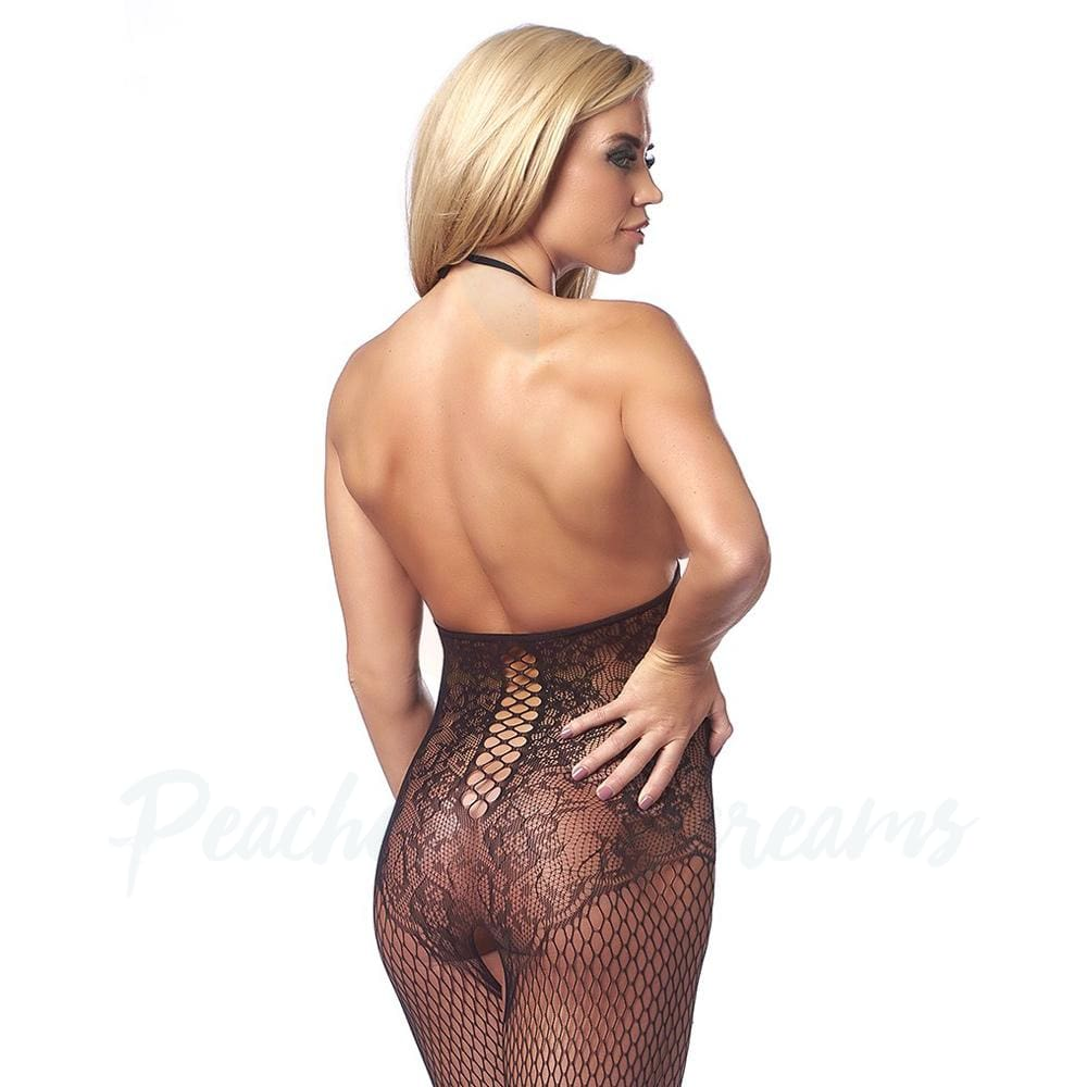 Black Topless and Open-Crotch Halter Lace and Fishnet Bodystocking - Necronomicox