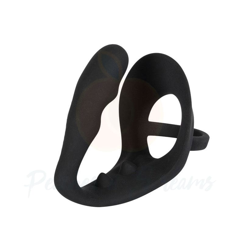 Black Velvets All-In-One Vibrating Cock Ring with Butt Plug - Necronomicox