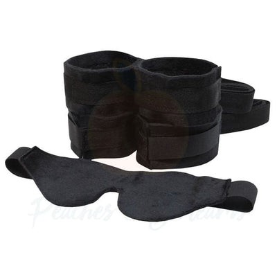 Bondage Sex Kit with Eye Mask Ankle Cuffs and Wrist Restraints - Peaches & Screams