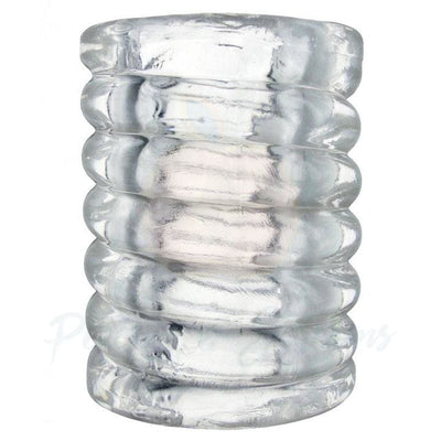 Clear TPE Spiral Ball Scrotum Stretcher for Men - Peaches and Screams