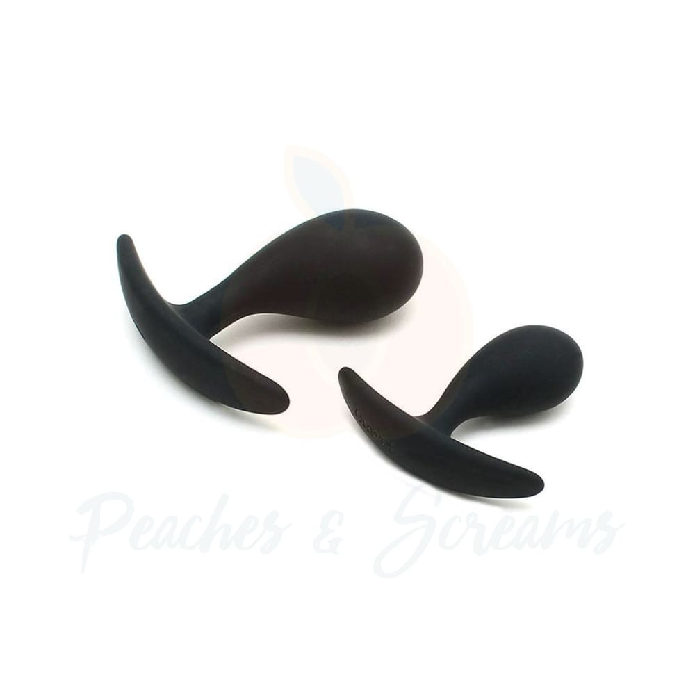 Copenhagen Black Duo Anal Butt Plug Set -Large and Small Butt Plugs - Peaches and Screams