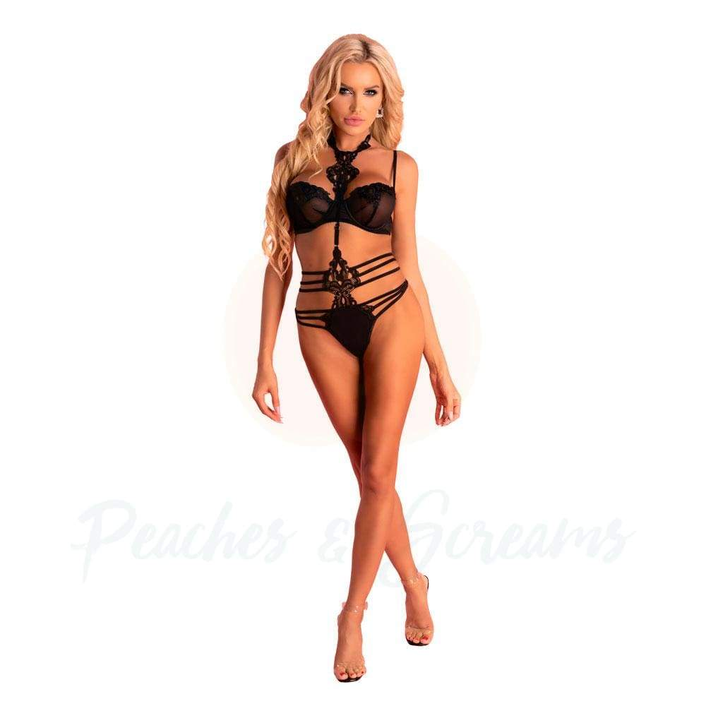 Corsetti Adelienn Sexy Black Lingerie Set Body and Bra - L/XL - 🍑 Peaches and Screams