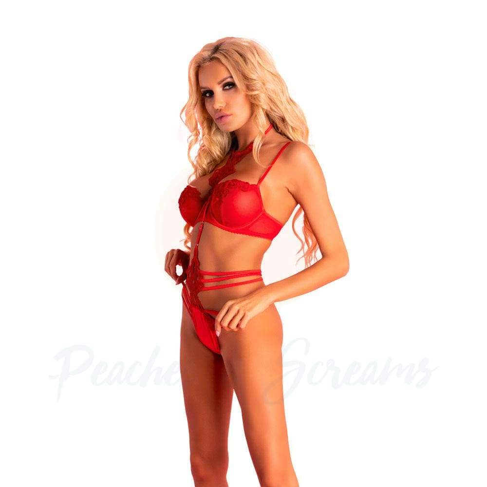 Corsetti Adelienn Sexy Red Lingerie Set Body - S/M - 🍑 Peaches and Screams
