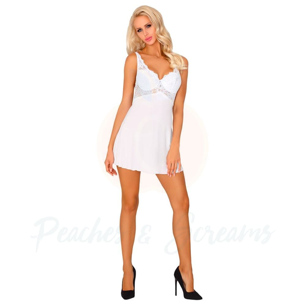 Corsetti Ellenin White Dress with Adjustable Straps and Matching Panty - 🍑 Peaches and Screams