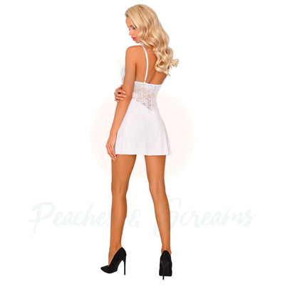 Corsetti Ellenin White Dress with Adjustable Straps and Matching Panty - Peaches & Screams