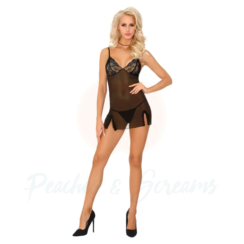 Corsetti Mokiniann Black Sheer Chemise And Thong Sexy Lingerie - X Large - Peaches and Screams