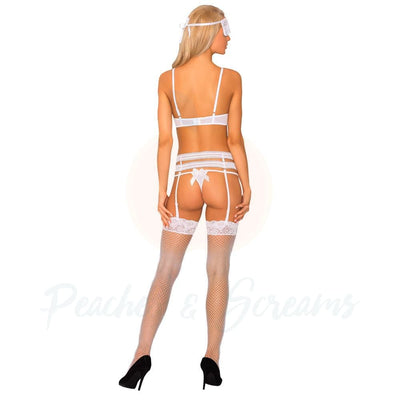 Corsetti Sameera Open Crotch and Panty Set with Bra Garter Belt Stockings Panty and Mask - Necronomicox