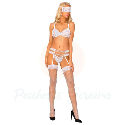 Corsetti Sameera Open Crotch and Panty Set with Bra Garter Belt Stockings Panty and Mask - Peaches & Screams