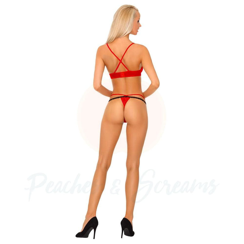 Corsetti Tarinas Red Bra and Panty Set Sex Lingerie - Peaches & Screams
