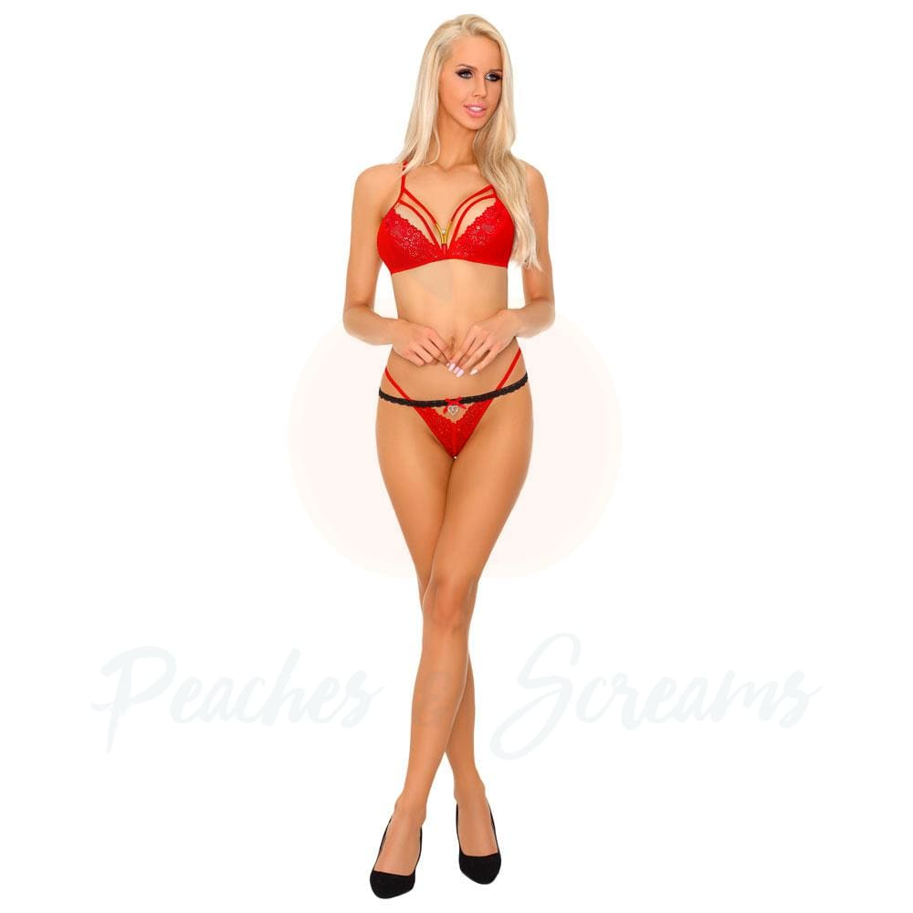 Corsetti Tarinas Red Bra and Panty Set Sex Lingerie
