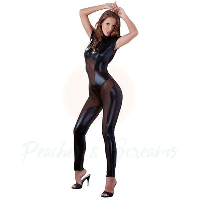 Cottelli Black Wet-Look Body Playsuit with Zips and Fitted Bra - Necronomicox