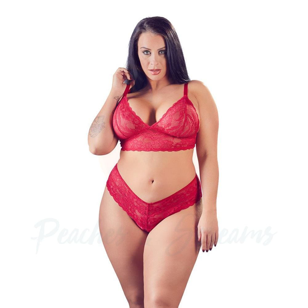 Cottelli Plus Size Red Lace Bra And Briefs - 🍑 Peaches and Screams
