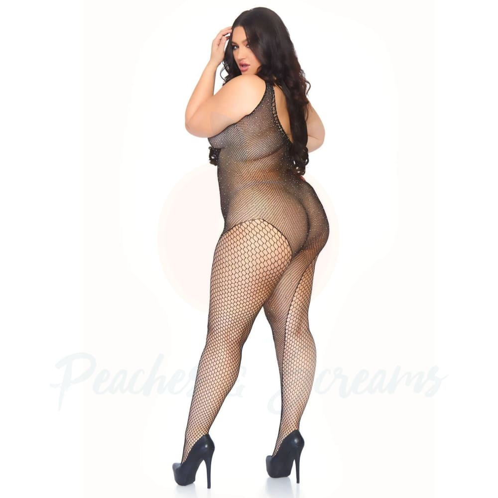 Crystalized Crotchless Fishnet Bodystocking Covered in Rhinestones Plus Size Lingerie UK 18 to 22 - 🍑 Peaches and Screams
