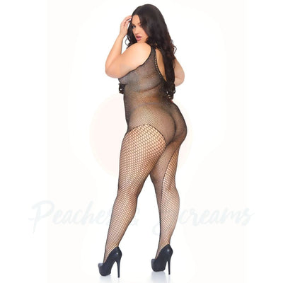 Crystalized Crotchless Fishnet Bodystocking Covered in Rhinestones Plus Size Lingerie UK 18 to 22 - Necronomicox