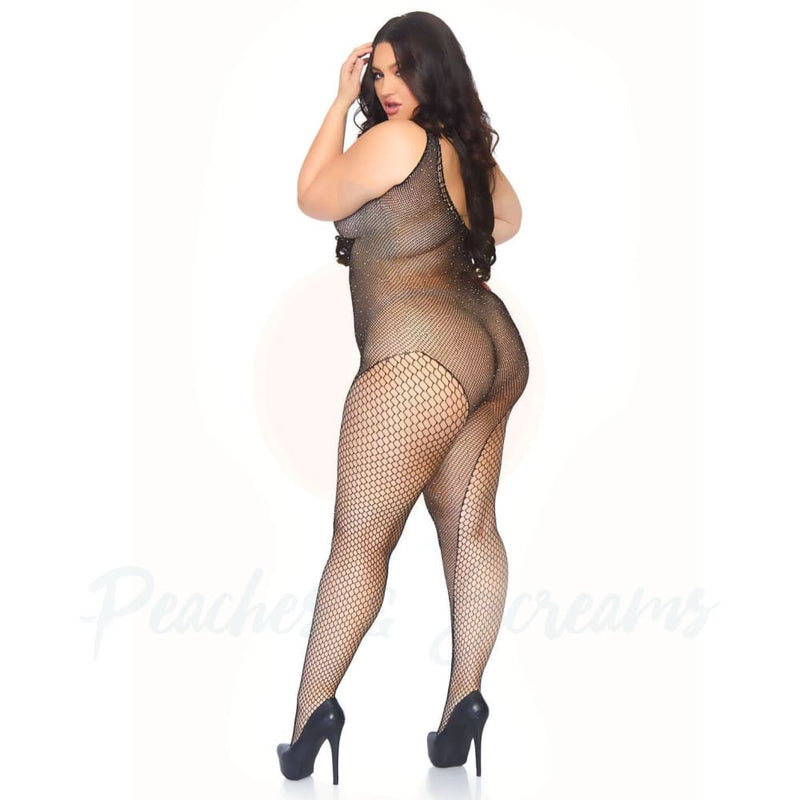 Crystalized Crotchless Fishnet Bodystocking Covered in Rhinestones Plus Size Lingerie UK 18 to 22