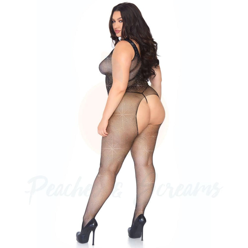 Crystalized Crotchless Fishnet Bodystocking with Rhinestones Plus Size UK 18 to 22