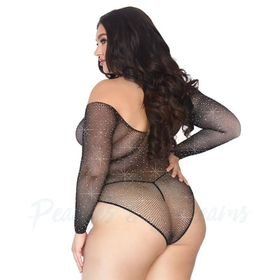 Crystalized Long Sleeve Fishnet Bodysuit with Rhinestones Plus Size UK 18 to 22 - Necronomicox
