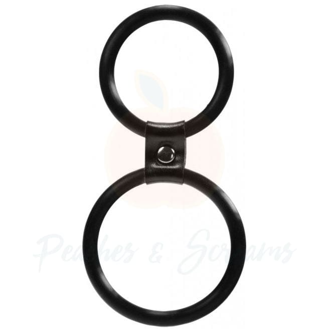 Durable Black Silicone Dual Cock Ring and Balls Ring for Men - Peaches & Screams