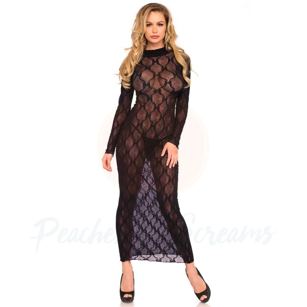 Erotic Black See-Through Long-Sleeved Lace Dress for UK 8-14 - 🍑 Peaches and Screams