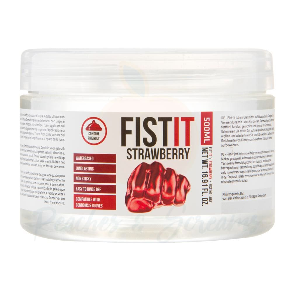 Fist It Water-Based Strawberry Extra Thick Sex Lube 500ml - Peaches and Screams