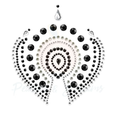 Flashy Black and Silver Rhinestone Body Jewellery Pasties for Her - Peaches & Screams