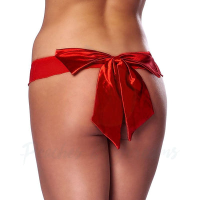 Flirty Red G-String Brief with Large Satin Bow on the Back - Peaches and Screams
