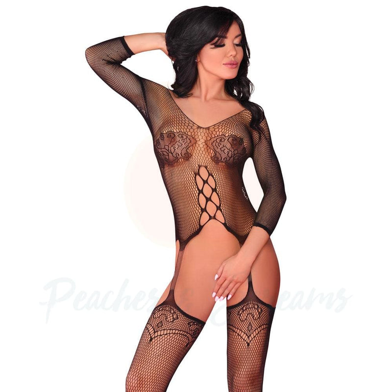 Floral and Fishnet Crotchless Suspender Bodystocking UK 8-12 - Necronomicox