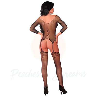 Floral and Fishnet Crotchless Suspender Bodystocking UK 8-12 - Peaches & Screams