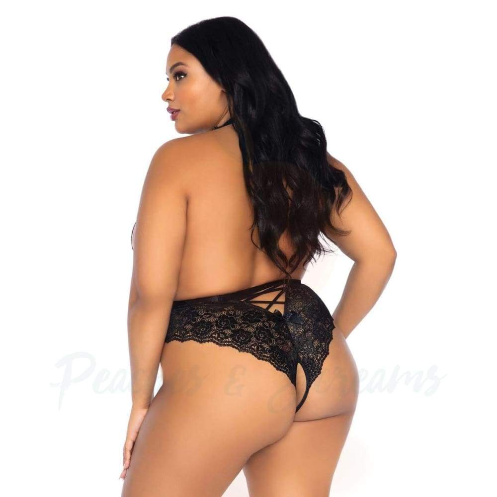 Floral Lace Crotchless Teddy Black Sexy Lingerie UK 18 to 22 - 🍑 Peaches and Screams