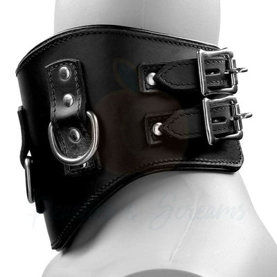 Heavy Duty Black Leather Padded Bondage Posture Collar - Peaches and Screams