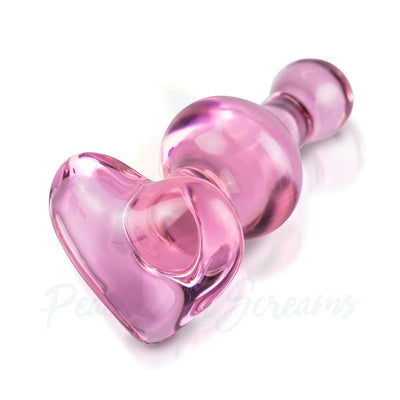 Icicles No.75 Pink Heart Glass Butt Plug for Temperature Play - Peaches and Screams