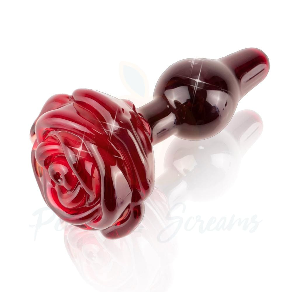 Icicles No.76 Glass Rose Anal Butt Plug for Men and Women - Peaches & Screams