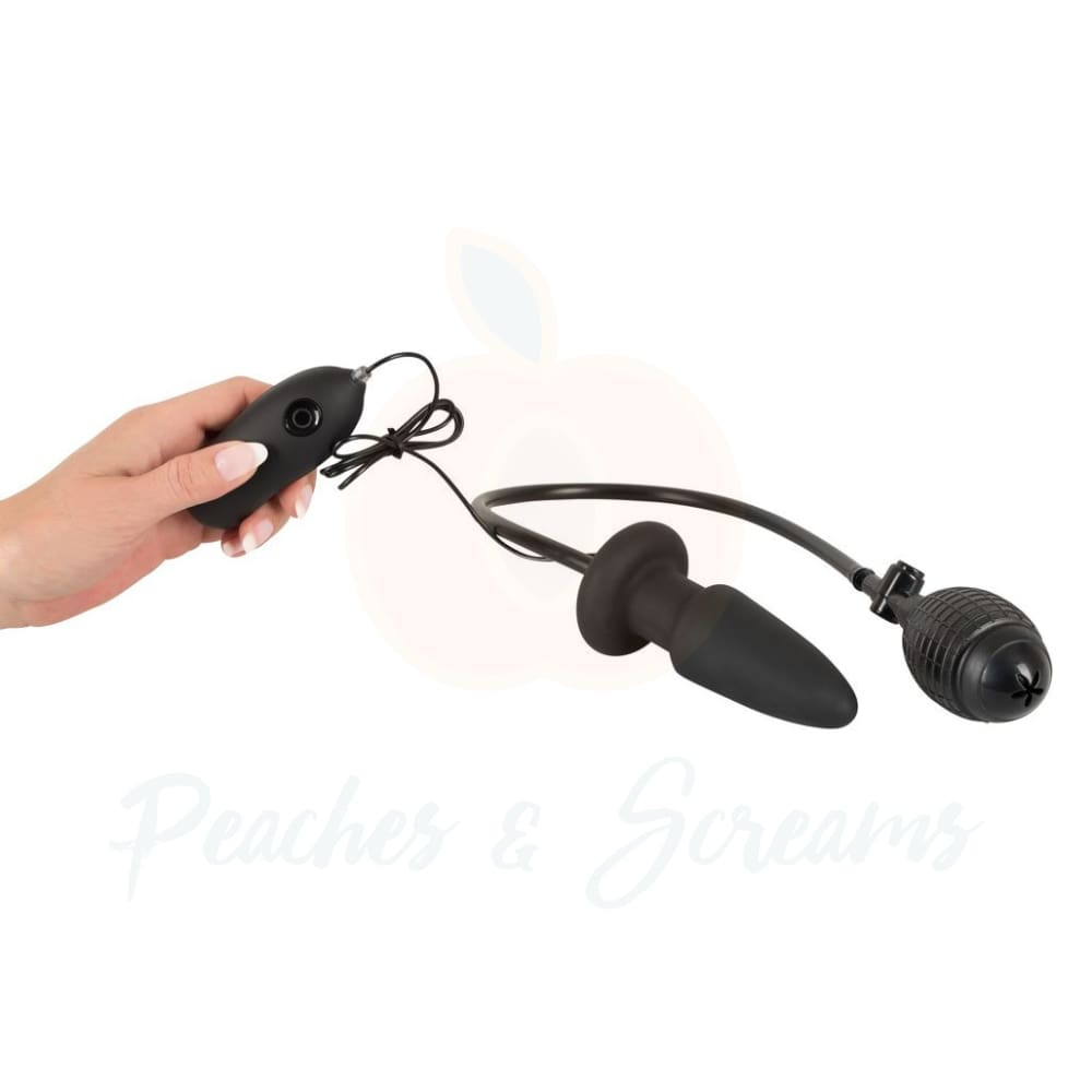 Inflatable And Vibrating Silicone Butt Plug with Remote Control and Hand Pump - 🍑 Peaches and Screams