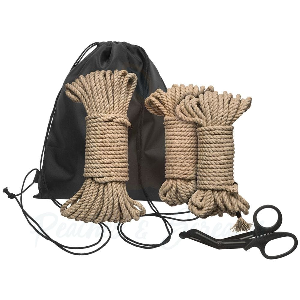 Kink Bind and Tie Initiation 5-Piece Hemp Rope Kit for Bondage - 🍑 Peaches and Screams