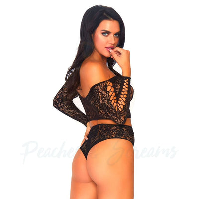 Leg Avenue 2 Piece Lace Long-Sleeved Crop Top And High Waist Thong Bottoms Black Lingerie Set One Size 8 to 14 - Peaches & Screams