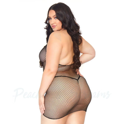 Leg Avenue Black Open Back Fishnet Zip Up Halter Mini Dress Plus Size Sexy Lingerie UK 18 to 22 - Peaches and Screams