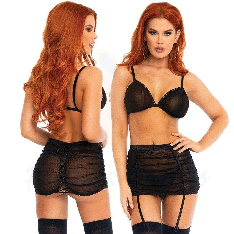 Leg Avenue Mesh Bra Top and Garter Skirt Black Lingerie Set - M/L - 🍑 Necronomicox