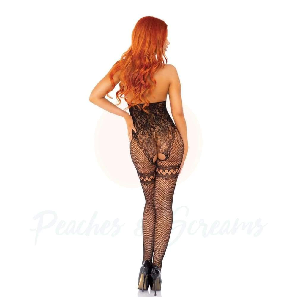 Leg Avenue Stretchy Fishnet And Lace Cupless Bodystocking Sexy Black Lingerie UK 8 To 14 - 🍑 Necronomicox