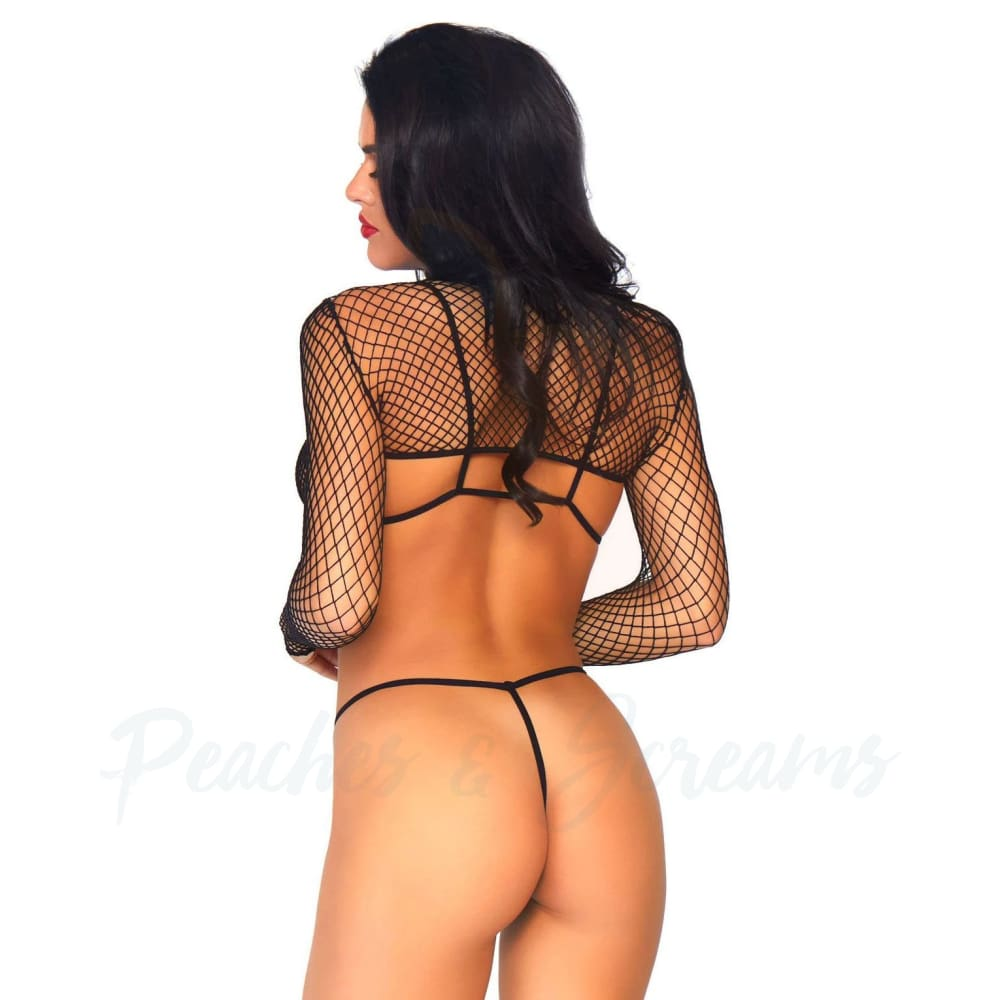 Leg Avenue Stretchy Nylon Net Top Thong And Bra Sexy Lingerie Set UK 814 - 🍑 Peaches and Screams