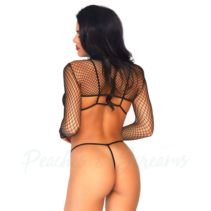 Leg Avenue Stretchy Nylon Net Top Thong And Bra Sexy Lingerie Set UK 814 - Peaches and Screams