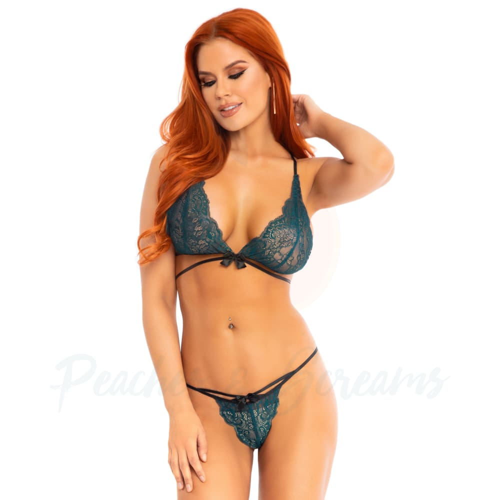 Leg Avenue Teal Lace Bralette And Matching G-String Panties Sexy Lingerie Set - M/L - Peaches and Screams