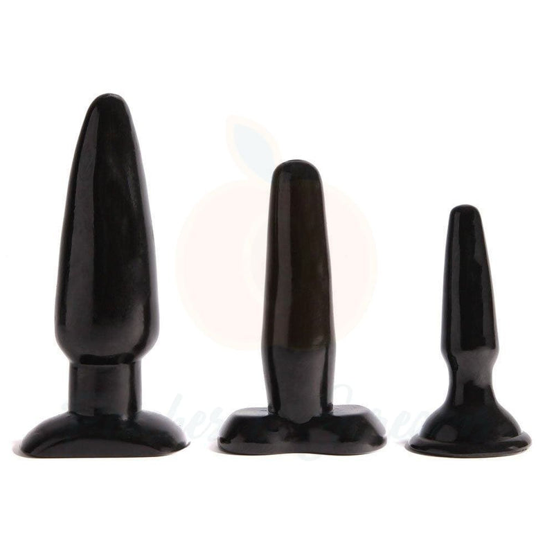 Liquorice Dip 3-Piece Different-Sized Butt Plug Set - Necronomicox