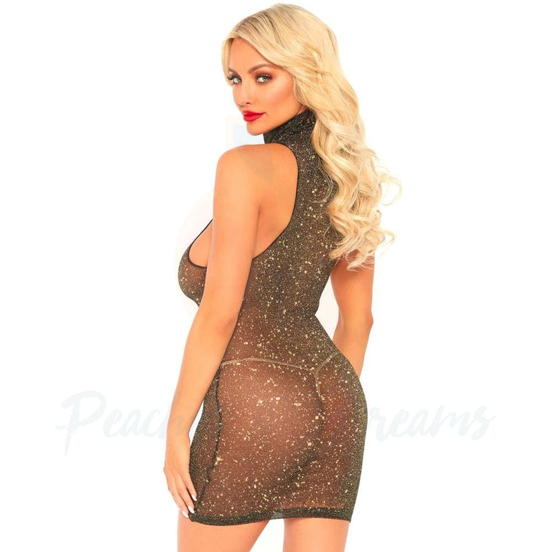 Lurex Gold Shimmer Spandex High Neck Mini Dress UK 8-14 - Necronomicox