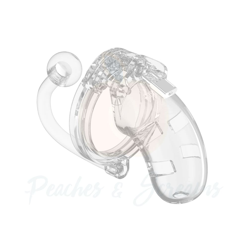 Man Cage 10 Male 3.5 Inch Clear Chastity Cage With Anal Butt Plug - Peaches and Screams