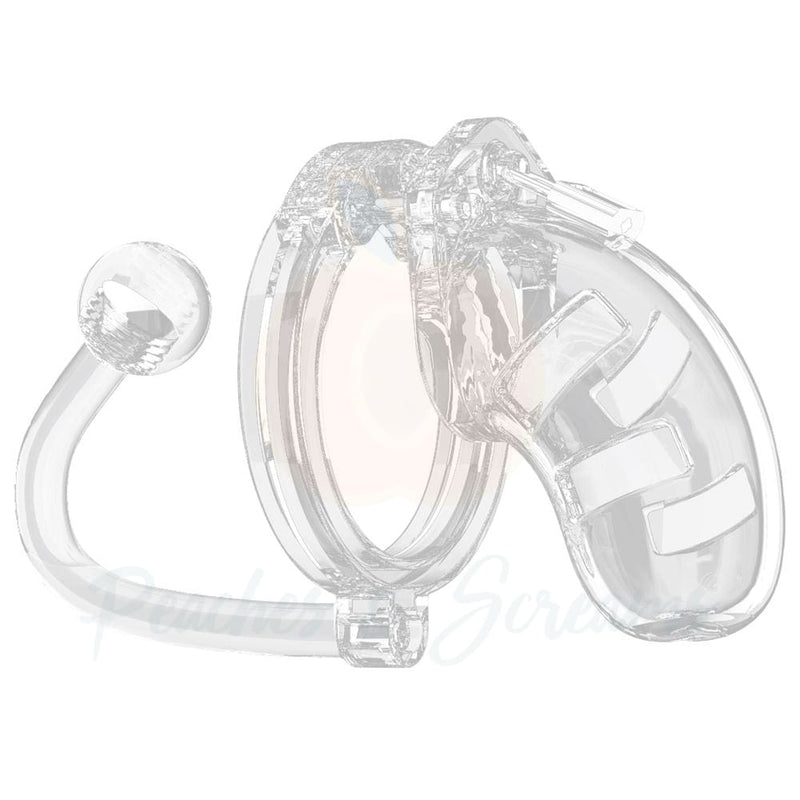 Man Cage 10 Male 3.5 Inch Clear Chastity Cage With Anal Butt Plug - Necronomicox
